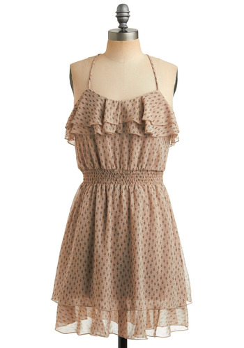 Ferry Me Away Dress - Tan, Black, Floral, Print, Ruffles, Tiered, Casual, A-line, Spaghetti Straps, Racerback, Spring, Summer, Mid-length