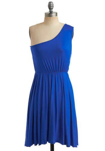 Star Sign Dress in Aquarius - Blue, Solid, Casual, A-line, Tank top (2 thick straps), One Shoulder, Summer, Mid-length, Jersey