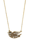 Winsome Dove Necklace - Gold, Chain, Cutout, Rhinestones, Party, Work, Casual