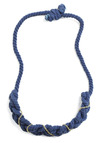Cable Channel Necklace - Blue, Gold, Braided, Chain, Party, Casual, Nautical