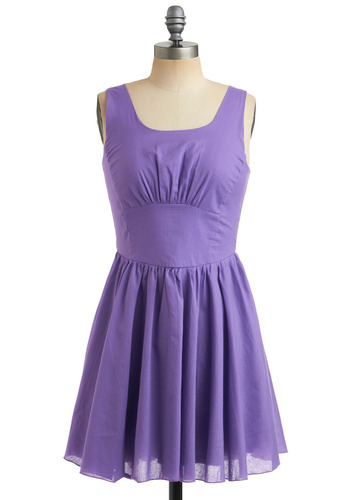 Ube Ice Cream Dress - Purple, Solid, Wedding, Party, Casual, A-line, Sleeveless, Tank top (2 thick straps), Spring, Summer, Short