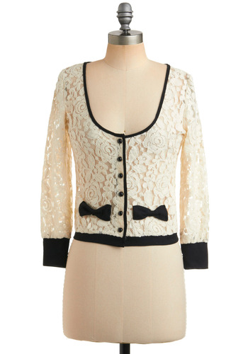 High Tea Cardigan - Cream, Black, Floral, Bows, Buttons, Trim, Party, Work, Casual, Long Sleeve, Short