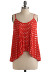 Vacation Paradise Top - Red, White, Polka Dots, Pleats, Casual, Spaghetti Straps, Spring, Summer, Mid-length
