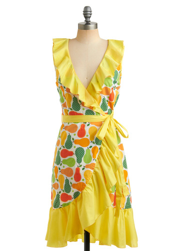 Bosc in the Glory Dress | Mod Retro Vintage Printed Dresses | ModCloth.com :  ruffles fruit colorful pear