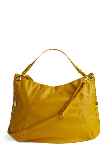 Simply Mustard Bag - Yellow, Solid, Exposed zipper, Pockets, Casual, Spring, Summer