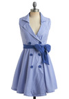 Dandy Striper Dress - Blue, White, Stripes, Bows, Buttons, Casual, Nautical, A-line, Empire, Sleeveless, Spring, Summer, Shirt Dress, Short