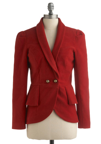 Red Poets Society Jacket | Mod Retro Vintage Jackets | ModCloth.com :  blazer crimson brass buttons shawl collar