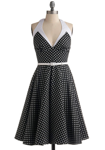Make Me Wanna Shout Dress - Black, White, Polka Dots, Buckles, Casual, Vintage Inspired, 50s, A-line, Halter, Rockabilly, Pinup, Mid-length
