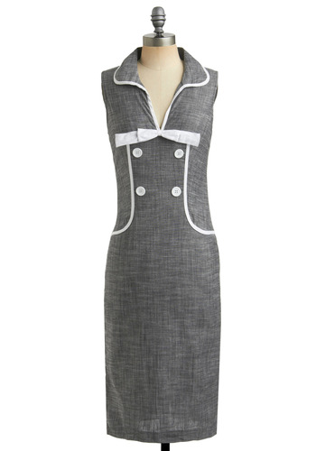Stop in the Name of Dress - Grey, White, Solid, Bows, Buttons, Pockets, Trim, Work, Casual, Vintage Inspired, 50s, Sheath / Shift, Sleeveless, Long, Rockabilly, Pinup, 60s
