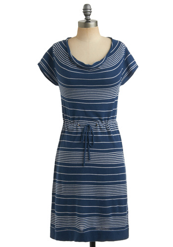 Picnic Party Dress | Mod Retro Vintage Printed Dresses | ModCloth.com :  blue and white drawstring waist stripes boatneck
