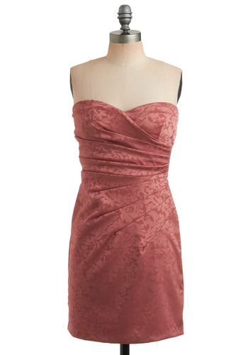 Sweet Cinnamon Dress - Pink, Floral, Pleats, Party, Sheath / Shift, Strapless, Mid-length
