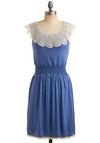 Absolutely Fa-blue-lous Dress - Blue, White, Solid, Buttons, Cutout, Lace, Trim, Casual, A-line, Sleeveless, Spring, Summer, Mid-length