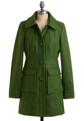 Junior Copy Writer Coat in Grass by Tulle Clothing - Green, Solid, Buttons, Pockets, Party, Work, Casual, Vintage Inspired, A-line, Long Sleeve, Fall, Winter, Long