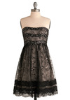 Title Sequins Dress - Black, Tan / Cream, Floral, Lace, Sequins, Special Occasion, Prom, Wedding, Party, A-line, Empire, Strapless, Mid-length