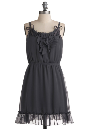 Galena Dress - Grey, Solid, Bows, Ruffles, Party, Casual, A-line, Spaghetti Straps, Summer, Short