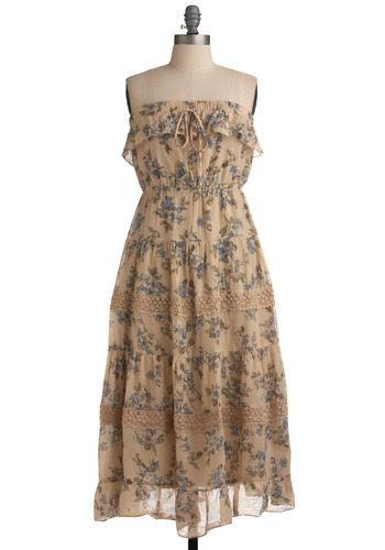 Meek~n~Mild Dress - Tan, Green, Blue, Floral, Bows, Ruffles, Tiered, Casual, Boho, A-line, Empire, Maxi, Strapless, Spring, Summer, Long