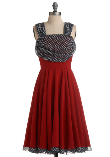 Draped Darling Dress - Red, Black, White, Polka Dots, Tiered, Party, Vintage Inspired, A-line, Tank top (2 thick straps), Long, Rockabilly, Pinup, Formal, Prom, Fit & Flare, Holiday Party