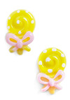 Hello Lolly Earrings - Yellow, Pink, White, Bows, Casual