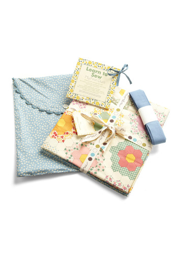 Learn to Sew My First Quilt Kit - Multi, Orange, Yellow, Green, Blue, Pink, Tan / Cream, Floral, Print, Handmade & DIY