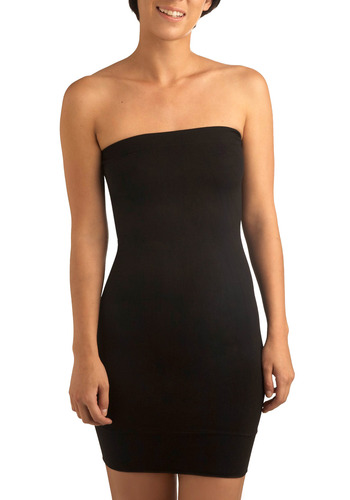 Stylish Silhouette Tube Dress in Black - Black, Solid, Party, Casual, Sheath / Shift, Strapless, Seamless