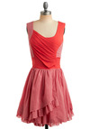 Memphis Style Dress - Red, Pink, Ruffles, Casual, Luxe, A-line, Sleeveless, Tank top (2 thick straps), Mid-length