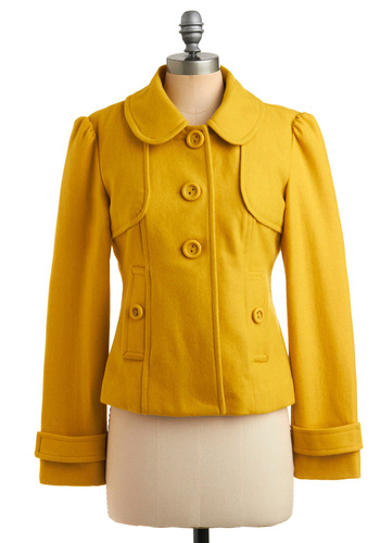 Just Yellow for Me Jacket by Tulle Clothing - Yellow, Solid, Buttons, Pockets, Party, Work, Casual, Vintage Inspired, Long Sleeve, Fall, Winter, Short, 3