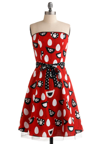 A Hen-chant for Eggs-ellence Dress - Red, Black, White, Polka Dots, Trim, Party, Vintage Inspired, 50s, A-line, Strapless, Long, Rockabilly, Belted, Cotton, Fit & Flare, Pinup, Print with Animals, Novelty Print, Quirky