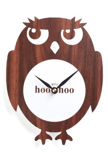 Hoo Has The Time? Clock - Brown, White, Work, Casual, Dorm Decor, Owls