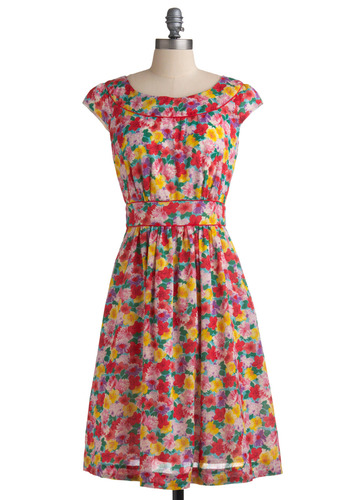Day After Day Dress in Garden by Emily and Fin - Multi, Red, Yellow, Green, Floral, Buttons, Cutout, Pockets, Trim, Party, Casual, Vintage Inspired, 50s, A-line, Cap Sleeves, Spring, Summer, Pink, Long, International Designer
