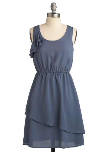 The Wonderful Year Dress - Blue, Solid, Ruffles, Tiered, Casual, A-line, Empire, Tank top (2 thick straps), Spring, Summer, Mid-length