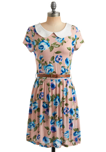Charmed to Meet You Dress in Delight - Pink, Multi, Green, Blue, White, Floral, Buckles, Peter Pan Collar, Party, Casual, Vintage Inspired, 50s, A-line, Short Sleeves, Spring, Summer, Mid-length