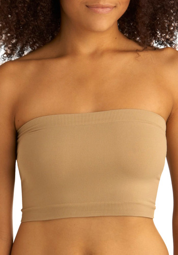 Très Sleek Bandeau in Khaki - Tan, Solid, Casual, Strapless, Seamless