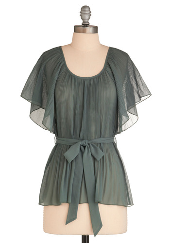 Frond Memories Top - Green, Solid, Ruffles, Work, Short Sleeves, Long, Belted, Sheer, Scoop