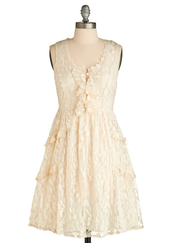 In-floral Gathering Dress - Cream, Floral, Bows, Buttons, Lace, Ruffles, Tiered, Trim, Party, Vintage Inspired, A-line, Tank top (2 thick straps), Spring, Summer, White, Mid-length