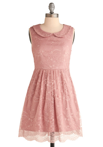 Feeding the Doves Dress - Pink, Buttons, Cutout, Lace, Peter Pan Collar, Party, A-line, Sleeveless, Spring, Short, Pastel, Collared, Variation, Summer