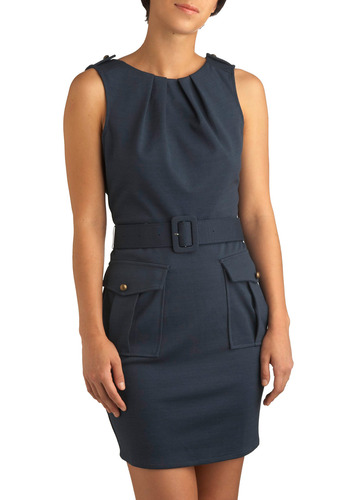 Ace Interviewer Dress - Blue, Solid, Buckles, Buttons, Cutout, Pleats, Pockets, Party, Work, Sheath / Shift, Sleeveless, Mid-length