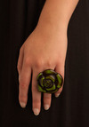 Flower Pow-er Ring - Green, Brown, Flower, Party, Casual, Statement, Rockabilly