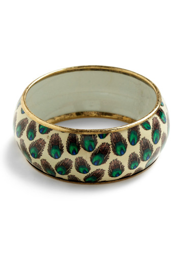 Plume of One's Own Bracelet | Mod Retro Vintage Bracelets | ModCloth.com :  bangle feather print bracelet peacock
