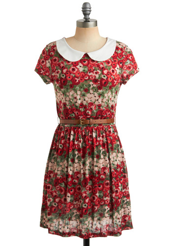 Charmed to Meet You Dress in Pleased - Red, Multi, Green, Tan / Cream, Stripes, Floral, Buckles, Peter Pan Collar, Party, Casual, Vintage Inspired, 50s, A-line, Short Sleeves, Spring, Summer, Mid-length
