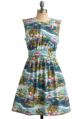 Too Much Fun Dress in Paradise by Emily and Fin - Blue, Multi, Red, Green, White, Novelty Print, Print, Pockets, Casual, Vintage Inspired, 50s, Empire, Sleeveless, Spring, Summer, International Designer, Mid-length, Fit & Flare, Exclusives