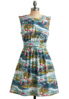 Too Much Fun Dress in Paradise by Emily and Fin - Blue, Multi, Red, Green, White, Novelty Print, Print, Pockets, Party, Casual, Vintage Inspired, 50s, A-line, Empire, Sleeveless, Spring, Summer, Mid-length, International Designer