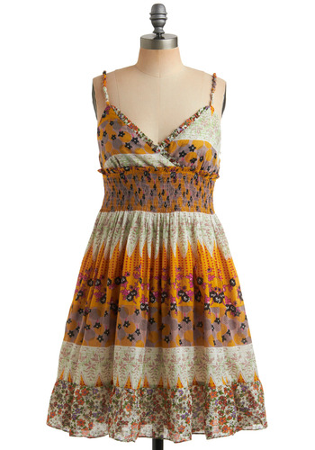Alcove Kiss Dress | Mod Retro Vintage Printed Dresses | ModCloth.com :  yellow shirred adjustable ruffled hem