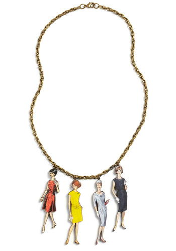 World's Smallest Lookbook Necklace - Multi, Red, Yellow, Blue, Gold, Chain, Party, Casual, Statement, Vintage Inspired, 50s, 60s
