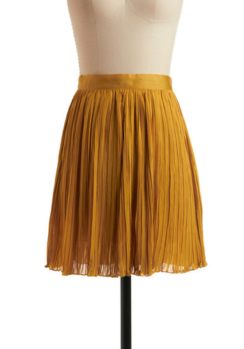 On Your Way Skirt - Yellow, Solid, Pleats, Party, Work, Casual, A-line, Spring, Summer, Mid-length
