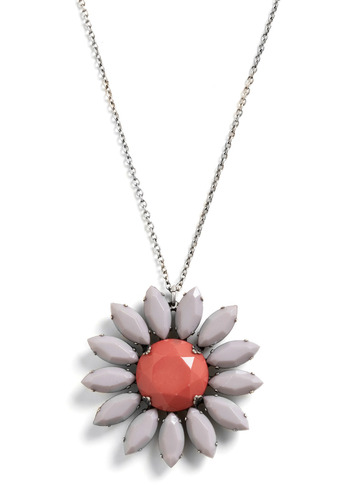 Lazy Summer Daisy Necklace - Orange, Grey, Chain, Rhinestones, Party, Casual, Vintage Inspired, 60s, 70s