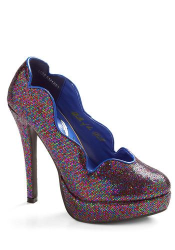 Fab-fetti Heel | Mod Retro Vintage Heels | ModCloth.com :  heels glittery scalloped green