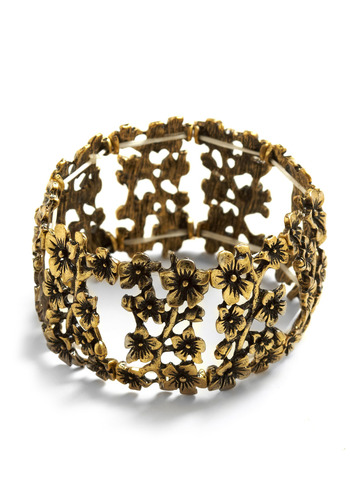 Naturally Pretty Bracelet - Gold, Cutout, Flower, Wedding, Party, Work, Casual
