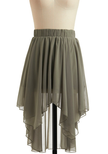 Moss of All Skirt - Green, Solid, Ruffles, Party, Casual, Spring, Summer, Vintage Inspired, 20s, 30s, 40s, Short