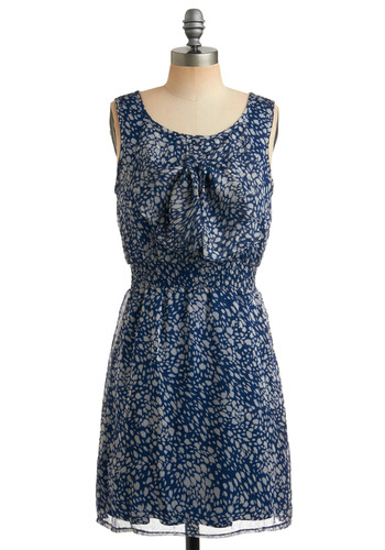 River Rocks Dress - Blue, Print, Bows, Casual, A-line, Tank top (2 thick straps), Summer, White, Mid-length, Press Placement