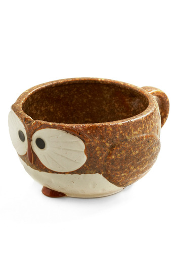 Know It Owl Mug in Coffee | Mod Retro Vintage Kitchen | ModCloth.com :  ceramic amber avian cream